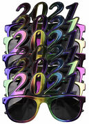 6 Pack Of 2021 New Years Eve Party Glasses Multi Metallic