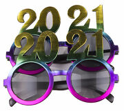 2 Pack Of 2021 New Years Eve Party Glasses Rainbow Metallic