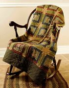 Green Quilted Patchwork Throw Country Primitive Tea Stain 50 X 60 Tea Cabin