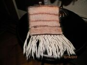 Tan And Rust Hand Loomed Wool Scarf With Fringe