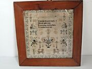 Antique English Hand Stitched Pictorial Sampler By Elizabeth Harrison Dated1848