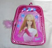 Vintage Girls Rare Barbie Pink Mini Backpack Purse Feather Accent Sz S