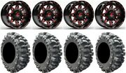 Fuel Lethal Red 14 Wheels 30 Bogger Tires Polaris Rzr Turbo S / Rs1