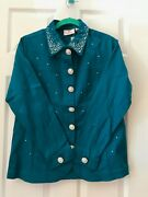 Quacker Factory Teal Blue Simulated Pearl And Stone Stretch Jacket Xl