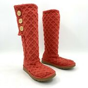 Ugg Cardy Triple Button Knit Argyle Boots Salmon Womens Size 7