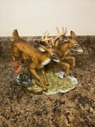 Home Interiors Masterpiece Porcelain By Homco Whitetail Deer Buck And Doe