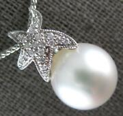 Estate .13ct Diamond And Aaa South Sea Pearl 14kt White Gold Star Floating Pendant