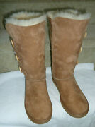 Ugg Bailey Button Triplet Triple Ii Chestnut Suede Tall Boots Size Us 7m Nwob