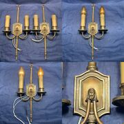 Pair Antique Brass Double Candle Wall Sconces With Beautiful Original Patina 83f