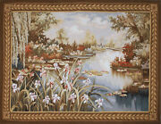 Aubusson Tapestry Hand-woven French Gobelins Monet Pond Wall Hanging 46x60 In