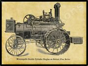 Minneapolis Threshing Machine Co New Metal Sign Double Cylinder Engine