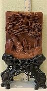 Antique Chinese Hardstone Carved Table Screen.10x6.5