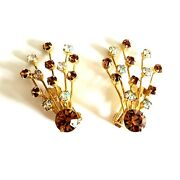 Weiss Fan Shaped Earrings Rhinestone Topaz Colored Clear Ab Gold Tone Signed Vtg