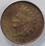 1903 1c Repunched Date Indian Head Cent Anacs Ms 63 Rb