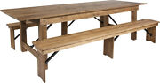 Hercules Series 9and039 X 40and039and039 Antique Rustic Folding Farm Table And Two Bench Set