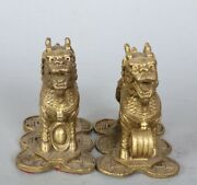 2pcs Chinese Antiques Fengshui Copper Ware Brass Kylin Statue Cc112