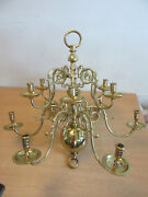 Rare Virginia Metalcrafters Williamsburg 12 Arm Brass Candle Chandelier 26 X 27