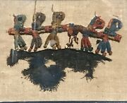 Ancient Peruvian Nazca Textile, 200-500 Ad –figures Holding Hands