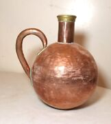 Rare Antique Hand Made Hammered Thick Copper Brass Spherical Whiskey Jug Pot