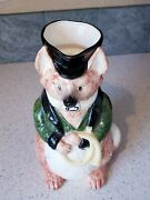 Fitz And Floyd Pitcher 1986 Foxhunt Fox With Brass Horn Hunting Hat Green Jacket