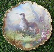 19c Antique French Limoges Snipe Birds Charger Plate Signed Dubois 13