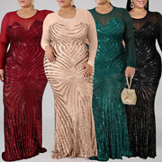 ❤️ Plus Size Womens Sequin Bodycon Maxi Dress Sexy Mesh Sheer Evening Party Gown