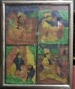 Antique Oil On Canvas Kama Sutra Sexual Instruction Guide Painting 4 Scenes