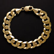 9 K Yellow Gold Italian Solid Curb Chain 12mm 8.5 Rrp Andpound1730 {r9_8.5}uk Hallmark