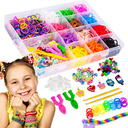New Rainbow Rubber Bands Bracelet Making Kit For Girls 4+years 2300+ Loom Bands