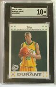 2007 Topps Basketball Kevin Durant Rookie Rc 2 Sgc 10 Gem Mint