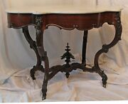 1850and039s Hand Carved Rococo Rosewood Marble Top Victorian Table Rare Size And Shape
