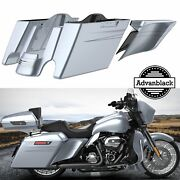 Brilliant Silver Extended Bags Stretched Saddlebag Pinstripes For Harley 14+