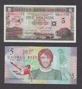 Northern Ireland Ulster Bank 5 Pounds George Best Au-unc We Combine