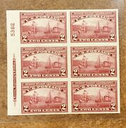 373 Plate Block Of 6 Mint Og Xf Hinged At Top 4 Nh 1909 Hudson Fulton