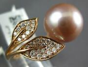 Large .27ct Diamond And Aaa Pink South Sea Pearl 18k Rose Gold 3d Double Leaf Ring
