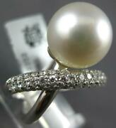 Large .76ct Diamond And Aaa South Sea Pearl 18kt White Gold Criss Cross Love Ring