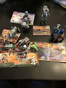 Lego Star Wars 5 Sets,used, Lot 7, With Total 3 Mini Figures And 5 Instructions