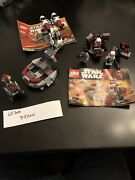Lego Star Wars 3 Sets,used, Lot 8 With 4 Mini Figures And 2 Instruction,no Box.