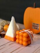 Bubble Cube And Pyramid Candle Set Scented Pillar Soy Wax Halloween Decor