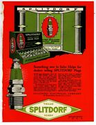 1920 Splitdorf Spark Plugs 1 Pg. Two Sided Ad On Cardstock Green Jacket Display
