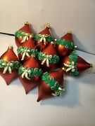 Vintage Christmas Ornaments Matching Lot Of 15 Gold Red Garland Bow 3d