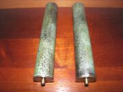 Pair, Vintage, Brass, Tall, Grandfather Or Wall Clock, Weights. 9 1/4x1 5/8