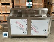 New 60 Portable 4 Compartment Sink Enclosed Stainless Steel Event Festival Nsf