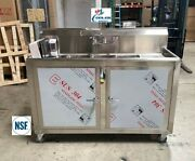 New 54 Portable 3 Compartment Sink Enclosed Stainless Steel Event Festival Nsf