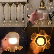 """Four 22"""" Long Brass Pendant Light Fixtures With Nice Amber Shades 49e"""