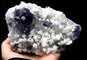 2.2lbnatural Purple Fluorite Grow With Calcite Crystal Cluster Mineral Specimen