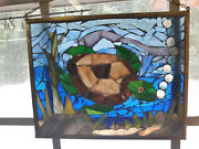 Stained Glass Mosaic Hanging Picture Sea Turtle 13w X 11 T New
