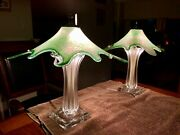 Stunning Vintage Green Murano Mid Century Set Of 2 Lamps Shades Made In Italy