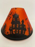 Yankee Candle Halloween Shade Haunted House Flying Witch Large Jar Retired
