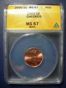 2000 Cheerios Cent Anacs Ms 67 Uncirculated Red Lincoln Penny Millenium Unc